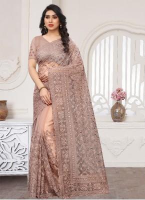 Beige Zari Wedding Classic Saree