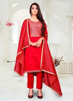 Best Chanderi Red Fancy Pant Style Suit
