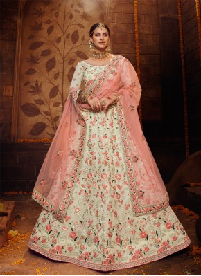 Best Off White Resham Bollywood Lehenga Choli