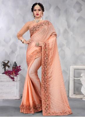 Best Sequins Peach Satin Designer Saree