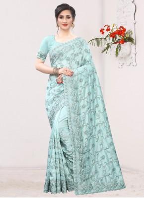 Best Silk Aqua Blue Embroidered Classic Saree