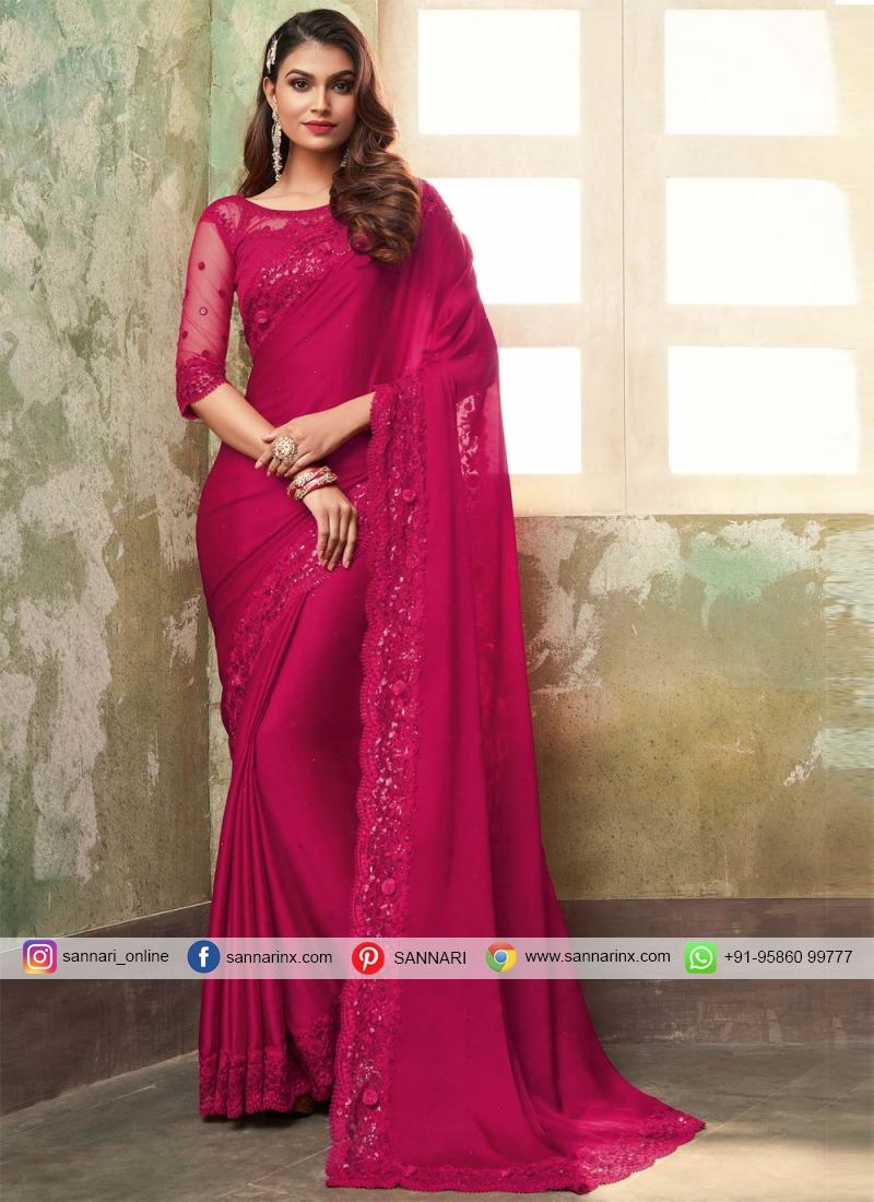 Best Silk Rani Embroidered Contemporary Saree