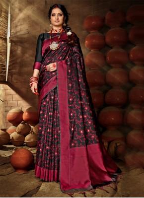 Best Weaving Black Banarasi Silk Traditional Designer Saree