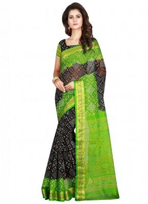 Black and Green Festival Traditional Designer Saree