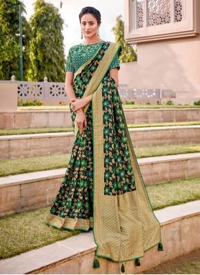 Black and Green Zari Silk Half N Half  Saree