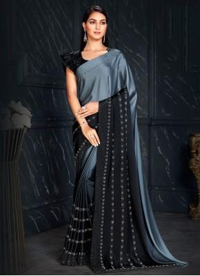 Black and Grey Color Shaded Saree