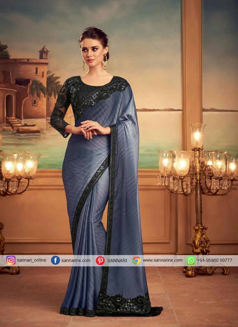 Black and Grey Patch Border Silk Shaded Saree