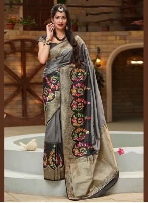 Black and Grey Reception Silk Traditional Designer Saree