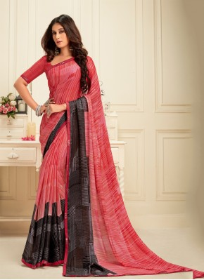 Black and Pink Georgette Printed Classic Saree