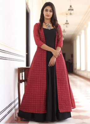 Black and Red Festival Muslin Party Wear Kurti