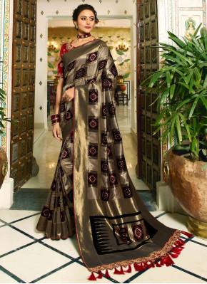Black and Silver Banarasi Silk Traditional Checks Woven Saree with Tassels