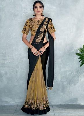 Black and Yellow Satin Silk Classic Designer Saree