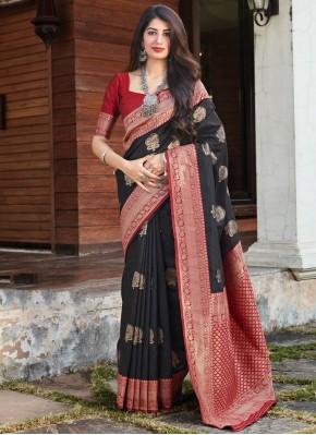 Black Art Silk Woven Traditional Saree