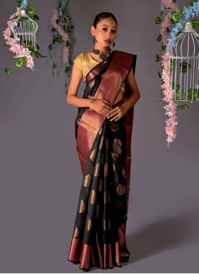 Black Chanderi Cotton Fancy Classic Designer Saree