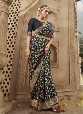 Black Color Designer Traditional Saree