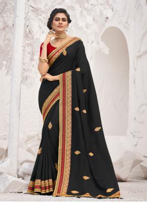 Black Embroidered Festival Trendy Saree