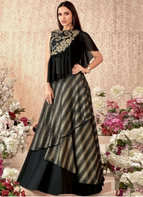 Black Embroidered Trendy Designer Lehenga Choli