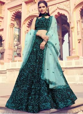 Black Engagement Fancy Fabric Lehenga Choli