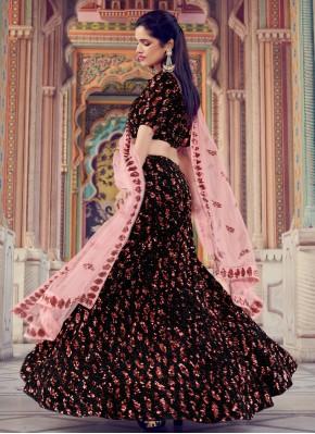 Black Fancy Fabric Sequins Lehenga Choli