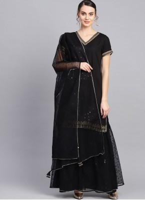 Black Fancy Festival Readymade Suit