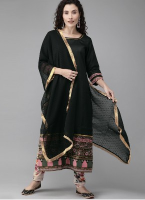 Black Fancy Poly Silk Designer Suit