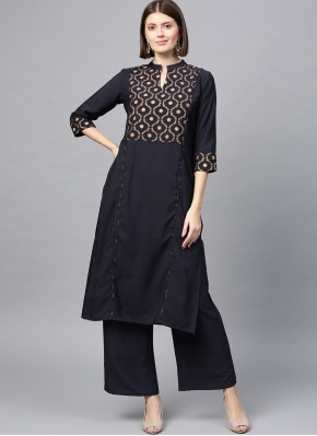 Black Faux Crepe Party Designer Kurti