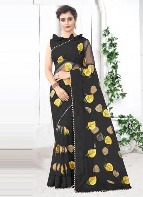 Black Festival Net Printed Saree