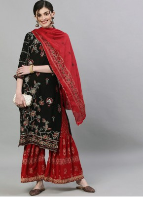 Black Festival Rayon Readymade Suit