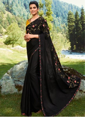 Black Festival Silk Contemporary Saree