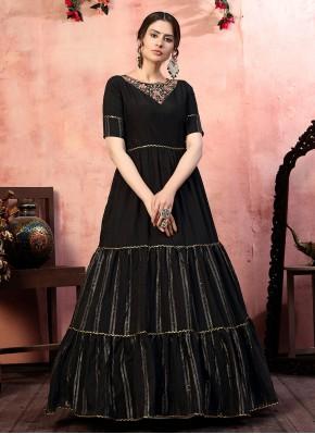 Black Festival Silk Designer Gown