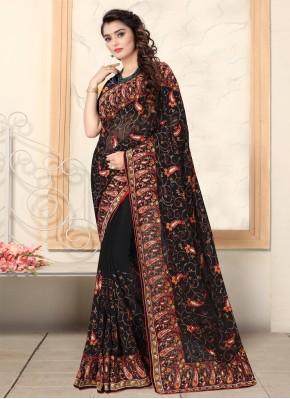 Black Georgette Ceremonial Trendy Saree