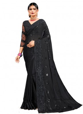 Black Georgette Satin Designer Saree