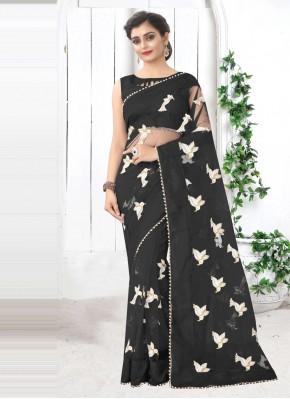 Black Net Printed Saree