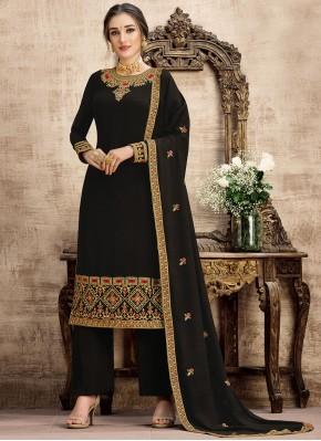 Black Party Georgette Palazzo Salwar Suit