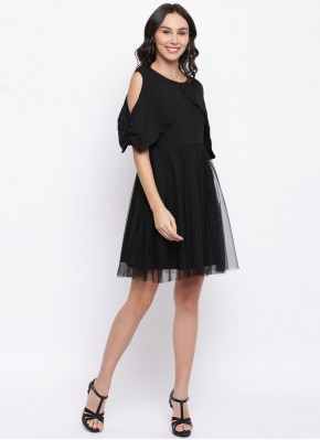 Black Plain Net Party Wear Kurti