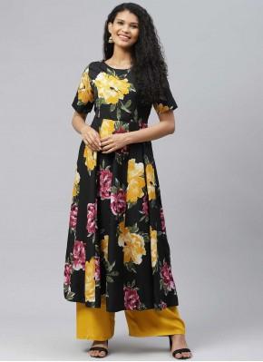 Black Print Cotton Designer Kurti