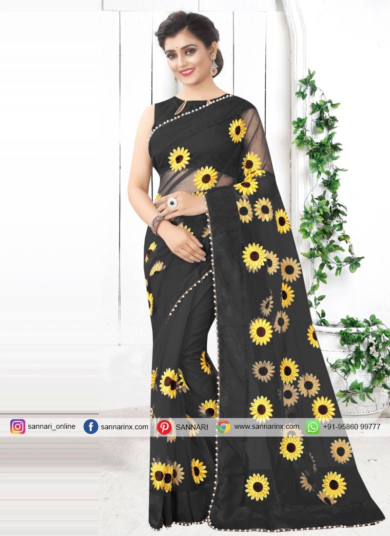 Black Print Printed Saree