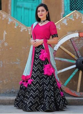 Black, Rani and Sky Blue Sequins Work Chiffon Bollywood Style Lehenga Choli