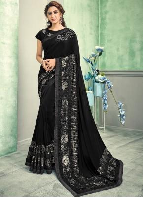 Black Reception Contemporary Saree