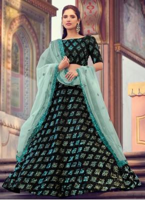 Black Sangeet Fancy Fabric Lehenga Choli