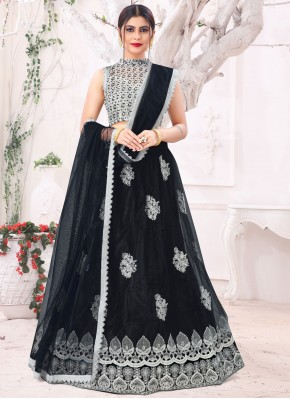 Black Sangeet Net Lehenga Choli