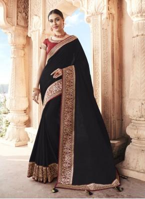 Black Silk Patch Border Designer Traditional Saree
