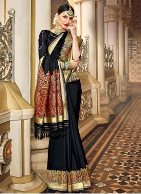 Black Silk Sangeet Traditional Saree