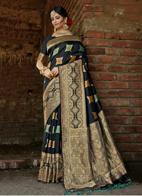 Black Weaving Banarasi Silk Designer Traditional Saree