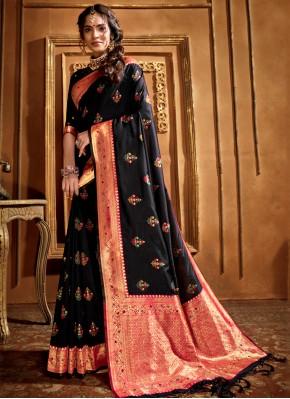 Black Weaving Silk Traditional Saree