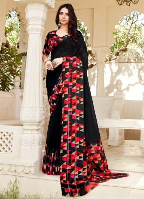 Black Weaving Trendy Saree
