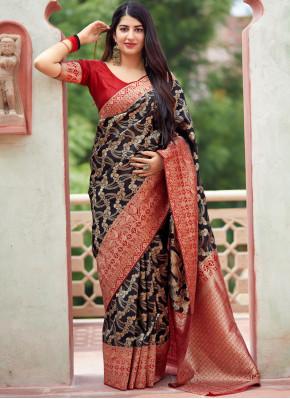 Black Wedding Art Silk Traditional Designer Saree