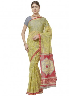 Blended Cotton Abstract Print Printed Saree in Green