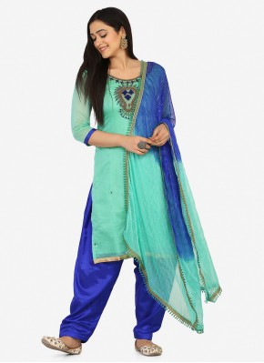Blended Cotton Embroidered Aqua Blue Patiala Suit