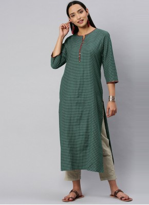 Blended Cotton Green Party Wear Kurti